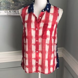 Jessica Simpson Flag Sheer Top Perfect for Beach